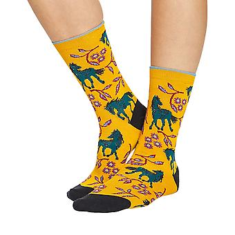 Filly women's soft bamboo crew socks in mustard   By Thought