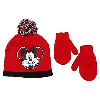 Beanie Cap - Disney - Mickey Mouse - Red Set w/Glove