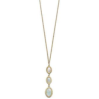 Elements Gold Oval Mother Of Pearl Drop Necklace - Or/Crème
