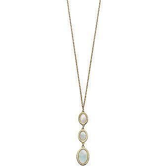 Elements guld oval mor til perle dråbe halskæde-guld/fløde