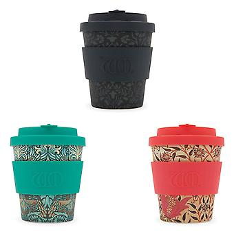 Ecoffee Eco-Friendly 8oz 250ml William Morris Reusable Bamboo Tea & Coffee Cups With Silicone Lid Top For Travel & Home - Various Colours