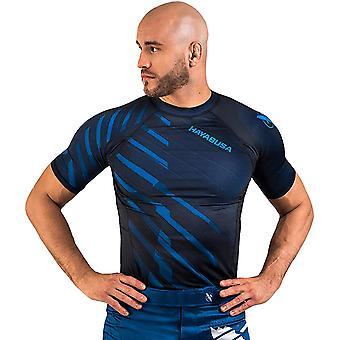 هايابوسا أودور مقاومة قصيرة الأكمام MMA ضغط Rashguard - الأزرق