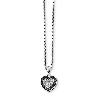 925 Sterling Silver Polished Prong set Open back Spring Ring Black and White Diamond Love Heart Pendant Necklace Jewelry