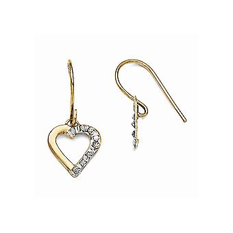 14k Yellow Gold Dangle Polished Shepherd hook Diamond Fascination Love Heart Earrings Measures 20x10mm Jewelry Gifts for