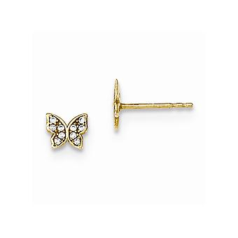 14k Yellow Gold Polished CZ Cubic Zirconia Simulated Diamond Butterfly Angel Wings for boys or girls Post Earrings