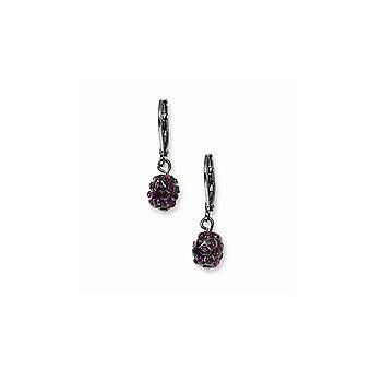 Svart plätering svart pläterad lila kristall fireball leverback örhängen smycken gåvor för kvinnor