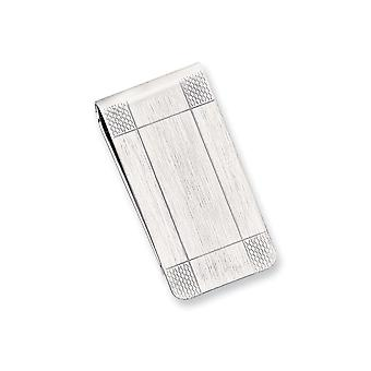 Solid Engravable Silver plated and Rhodium Satin Patterned Corner Money Clip Jewelry Gifts for Men