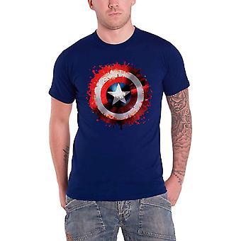 كابتن أمريكا تي قميص مارفل كاريكاتير Splat درع الرسمية Mens الأزرق