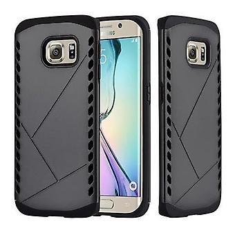 Cadorabo tilfelle for Samsung Galaxy S6 EDGE - tilfelle i GUARDIAN BLACK - Hard Case TPU silikon beskyttende etui for hybrid deksel i utendørs heavy duty design