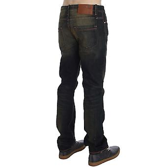 Blue Wash Cotton Regular Straight Fit Faded Jeans