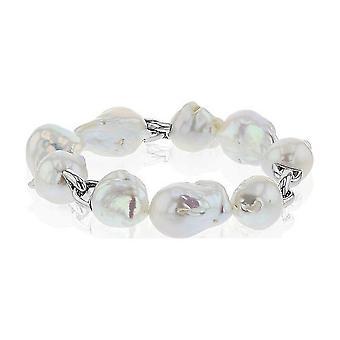 Luna-pärlor Pearl Armband sötvatten pärlor 13-15 mm 925 silver Rhodium pläterad 3001199