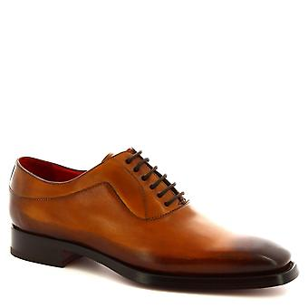 Leonardo Shoes Men's handmade lace-ups oxford shoes in sienna calf leather