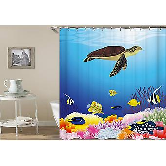 Turtle Swims In The Reef Shower Curtain