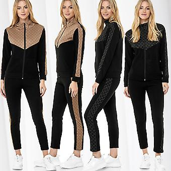 Womens Sports Suit Jacket Trousers Casual Two Pieces Infinity Pattern Trackpants