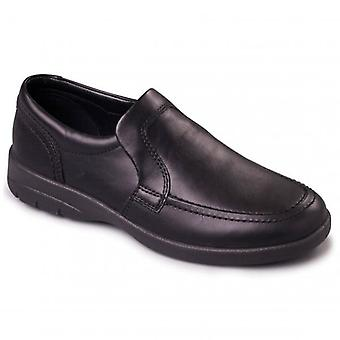 Padders Leo Mens Leather Wide (g/h) Loafers Black