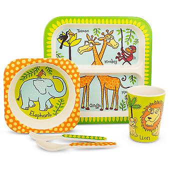 Tyrrell Katz Jungle Design 5pc Bamboo Dinner Set For Children