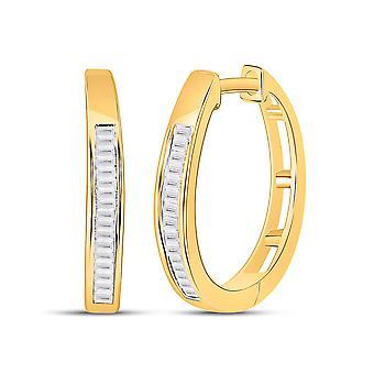 1/5 Carat (ctw G-H, I2-I3) Baguette Diamond Hoop Earrings in 10K Yellow Gold