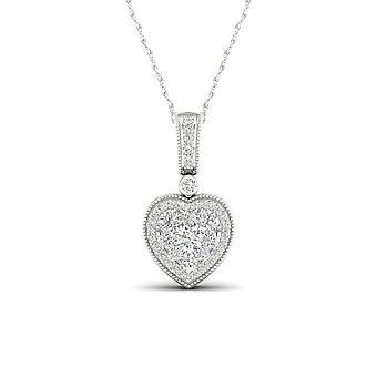 Igi認定天然10kホワイトゴールド0.33ctリアルダイヤモンドクラスターハートネックレス