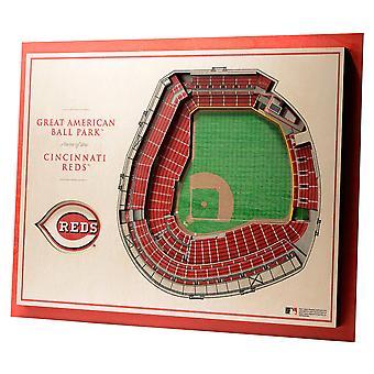 YouTheFan lemn decorare perete Stadionul Cincinnati Reds 43x33cm