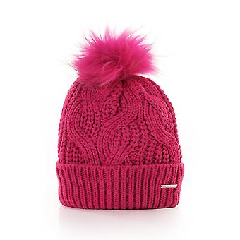 Rino & Pelle Cable Beanie With Fur Pom Pom Detachable