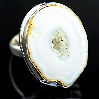 Large Coconut Geode Druzy Ring Size 8.75 (925 Sterling Silver)  - Handmade Boho Vintage Jewelry RING986745