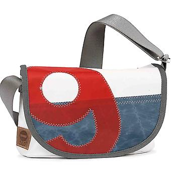 360 degree canvas bag pearl satchel white, beams blue / number red