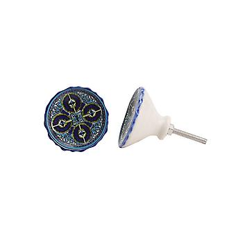CGB Giftware Round Blue And Yellow Dish Drawer Handle