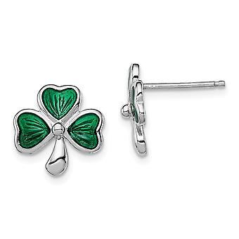 925 Sterling Silver Madi K Green Enameled Shammrock Post Earrings Jewelry Gifts for Women