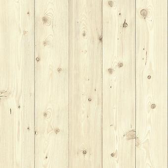 Wood Panel Effect Vinyl Wallpaper Natural Rasch 664522