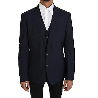 Dolce & Gabbana Blazer Vest 2 Piece Blue Wool Martini