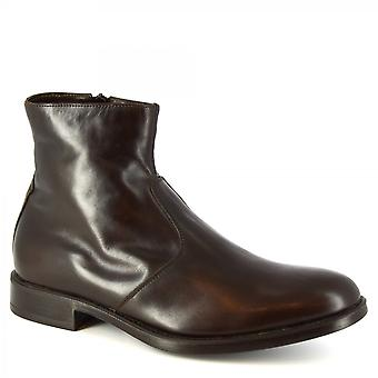 Leonardo Shoes Men's handmade ankle boots dark brown calf leather side zip