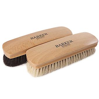 Barker Luxury XL Horsehair Polising Brush - Noir et Naturel
