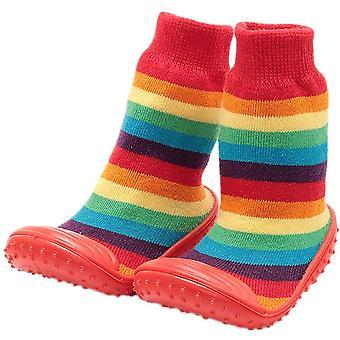 HOWELL Baby Sockenschuhe mit rutschfesten Gummi, Regenbogen, Größe Einlegesohle 13cm:6-12M