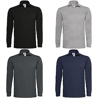 B & C Mens Heavymill coton Polo manches longues
