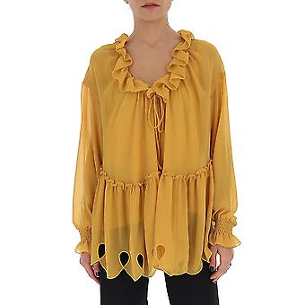 See By Chloé Chs20uht18025745 Women's Yellow Silk Blouse