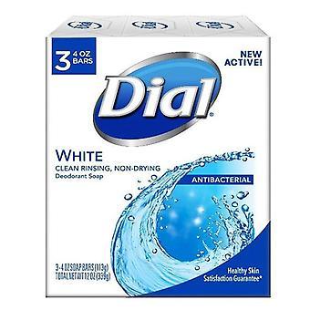 Dial antibacterial deodorant soap bars, white, 4 oz, 3 ea