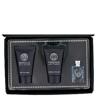 Versace Pour Homme Zestaw prezentów Przez Versace .17 oz Mini EDT + .8 uncji Po ogonie balsam + .8 uncji Włosy + Szampon do ciała
