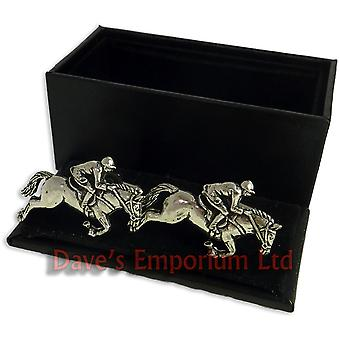 Jockey on Horseback Cufflinks - Gift Boxed - Pewter - Horse Racing Cuff Link
