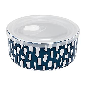 Ladelle Abode Ink Blue Dashes Microwave Bowl