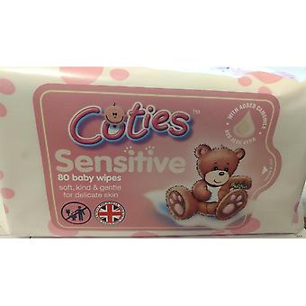 Cuties Sensitive Extra Tjock Baby Wipes, 960 Våtservetter (12 förpackningar med 80 våtservetter)