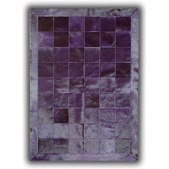Rugs -Patchwork Leather Cubed Cowhide - Plain Violet with Border