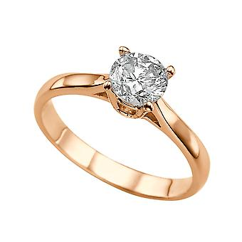 1.00ct White Sapphire Ring Rose Gold 14K Cathedral Round