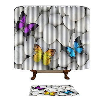 Shower curtain mat combination Shower curtain 180*180cm floor mat 50*80