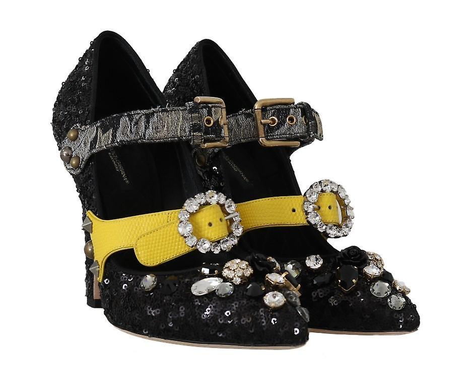 Dolce & Gabbana Black Sequined Crystal Studs Heels Shoes -- LA51680624 tln11