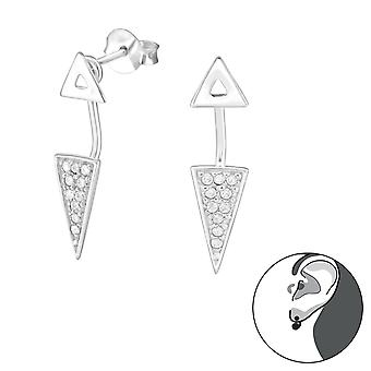 Geometric - 925 Sterling Silver Ear Jackets & Double Earrings - W31408x