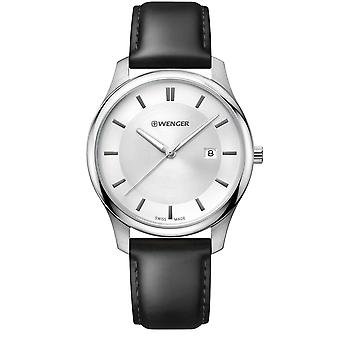 Wenger City Classic White Dial Black Leather Strap Men's Watch 01.1441.102