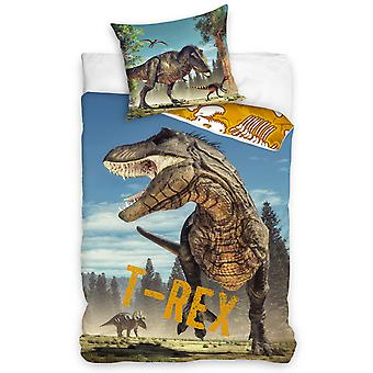 T-Rex Dinosaur Single Cotton Duvet Cover Set - European Size