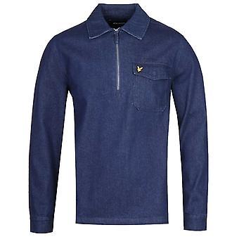 Lyle & Scott Quarter-Zip Indigo Blue Long Sleeve Shirt