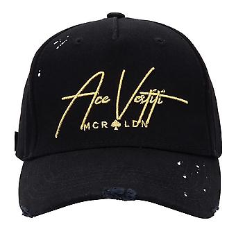 Ace Vestiti - France | Av19 Distressed Paint Splatter Script Signature Baseball Cap - Or noir/métallique