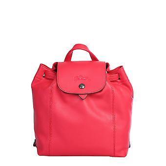 Longchamp 1306757545 Women's Red Leather Backpack
